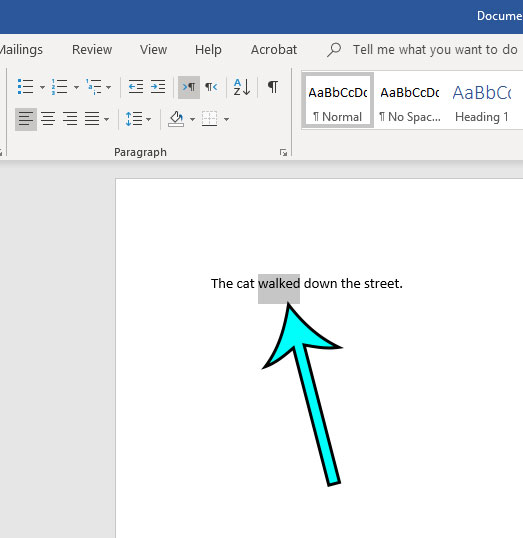 choose a word in your document
