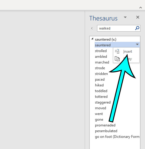 how to use the thesaurus in microsoft word for office 365