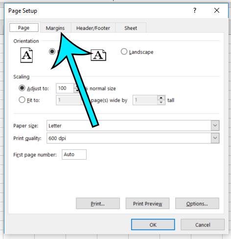 select the margins tab