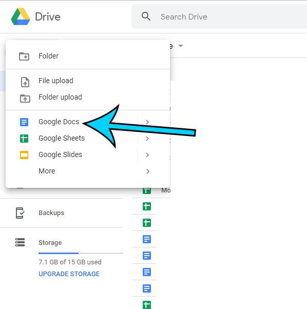 choose the google docs option