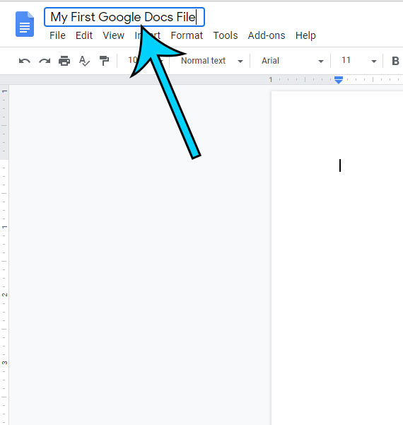 give your new google docs file a name