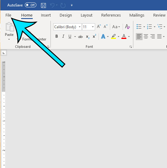 open the file menu in word