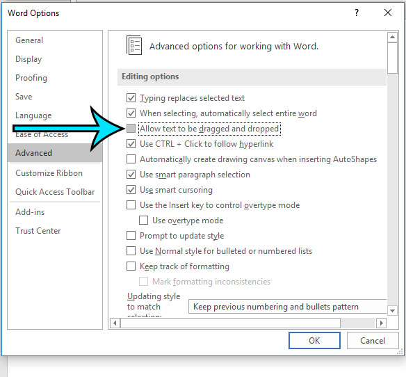 how to disable text drag and drop in word for office 365