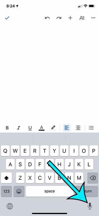 how to do voice typing in Google Docs on an iPhone