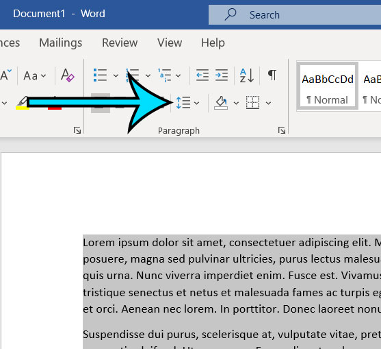 click the Line and Paragraph Spacing button