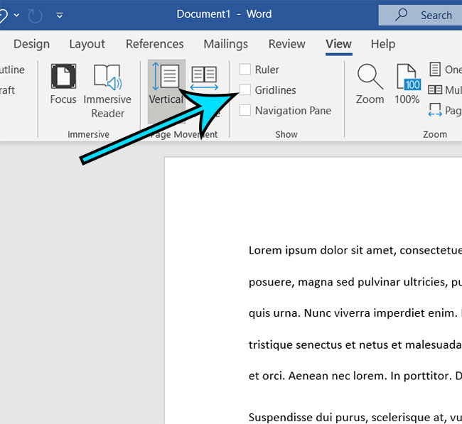 how to get rid of a grid in Microsoft Word