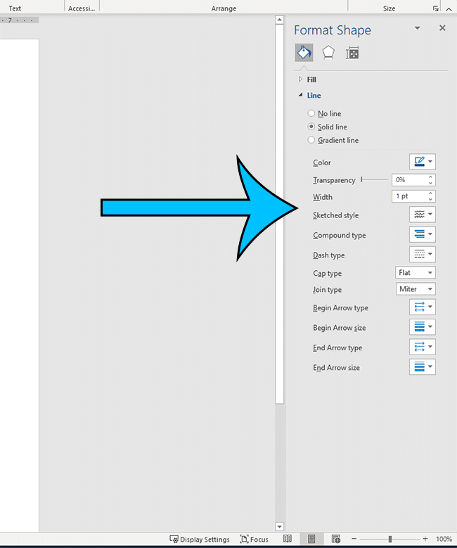 the Format Shape column for drawings in Word