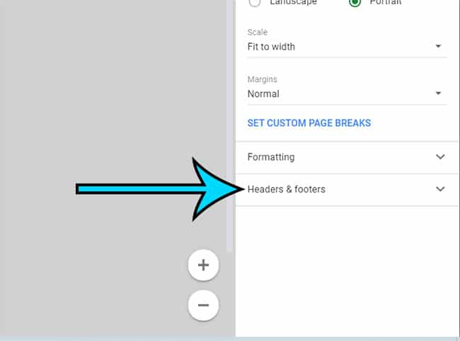 select the Headers and footers tab