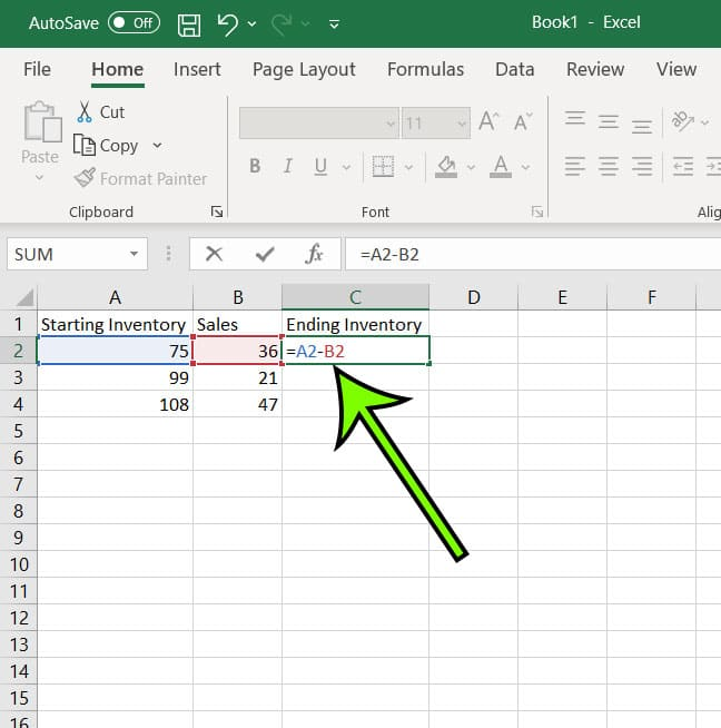 how to find the difference in Excel