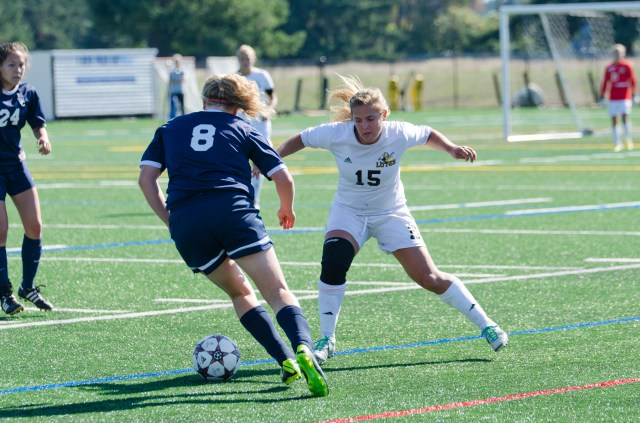 Sophomore Kailey Lyman, a midfielder, tracks down the ball against Whitman on Sunday, Oct. 6.