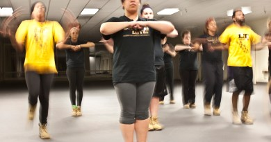First-year Brittanya Love practices with PLU's step team Lute Nation Tuesday evening in the Columbia Center. A minor heart murmur prevented Love from being able to practice with the team at the start of the school year. Photo by Emily Jacka