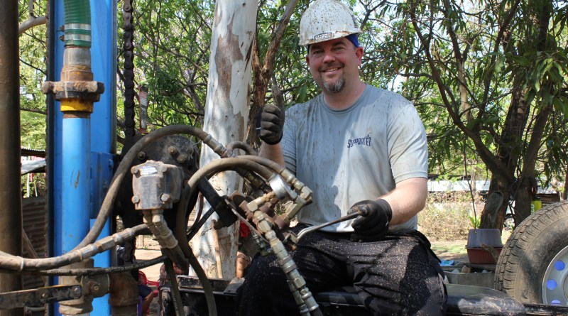 PLU professor Mark Mulder sits atop the rig he used to drill the well for a Nicaragua village in spring 2013.