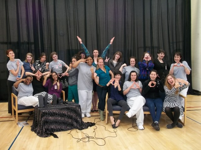 The cast of the Vagina Monologues poses after performing at the Washington Corrections Center for Women. The show was meant to bring awareness to domestic and sexual violence, which many of the women at the prison had experienced.