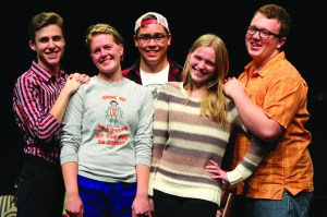 The collection of first-years includes (from left to right) Jake Eliot, Kathryn Wee, Conner Brown, Emily Curtis and Dane Ostile-Olson.