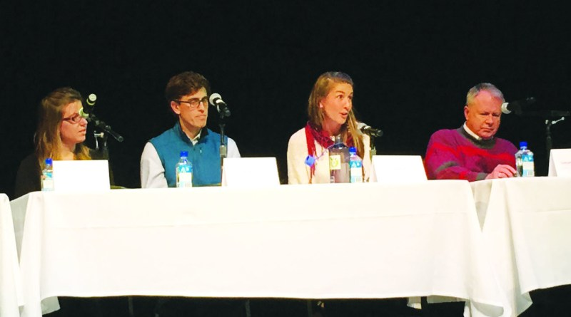 """From left to right: Kate Edwards, Ben Rasmus, Dana Frasz and Samuel Torvend speak at the """"Waste Not"""" premiere event panel on Nov. 8 in Tacoma, Wash."""