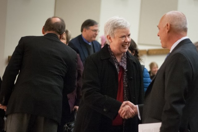 New president Kathleen Murray shakes hand with the Chair of the Board of Trustees Brad McMurchie at her announcement earlier today. Photo by Marcovici