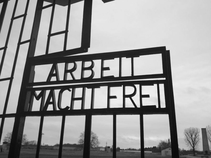 "The gates at Sachsenhausen Concentration Camp which read, ""Arbeit Macht Frei,"" or ""work makes you free."" Photo by Natalie DeFord"