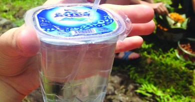 "Photo by Ashley Gill  Small plastic disposable cups filled with clean water are mass produced and sold throughout Bali, Indonesia. The cups have a ""juice box"" concept that is a convenient way to get clean drinking water without buying water bottles, but it produces just as much if not more waste, especially  since the cups are not reusable like water bottles are."