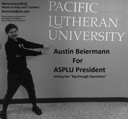 Sophomore Austin Beiermann and junior Ellie Lapp are both running for the ASPLU President leadership position. Be sure to vote on March 10 and 11 in the primaries and March 17 and 18 in the general elections.