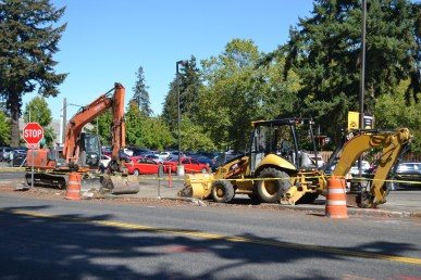 Sidewalk construction across from Harstad Hall. PHOTO BY MCKENNA MORIN