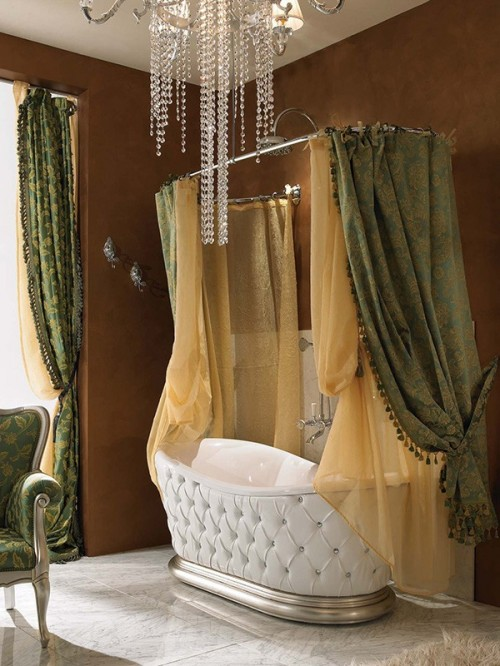 Tufting Design Vintage Bath Tub with Ornate Drapes and Curtains