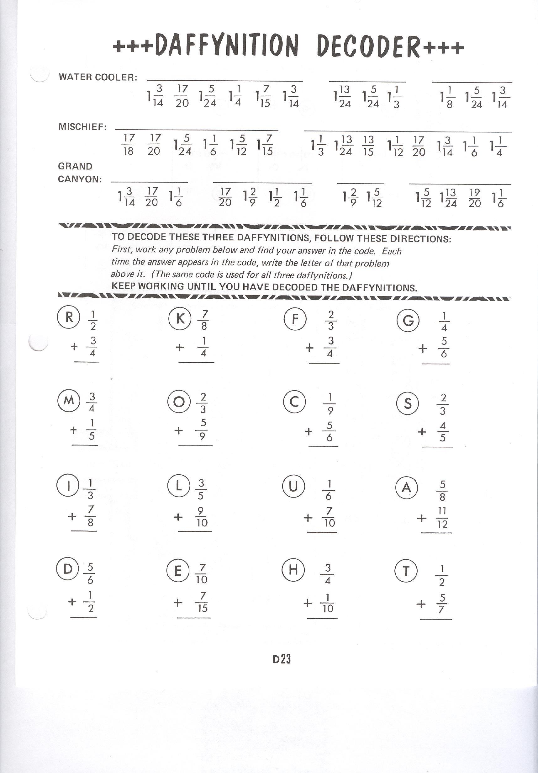 Math Worksheet Daffynition Decoder