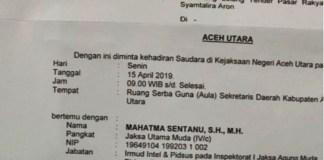 MaTA: Kejagung Periksa Kajari Aceh Utara Terkait Dugaan Fee Proyek Pasar