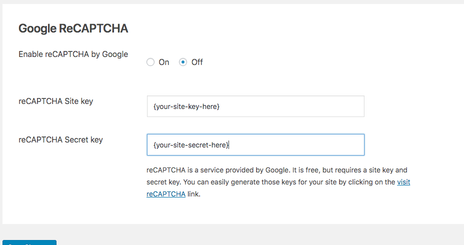 reCAPTCHA by Google Extension Settings