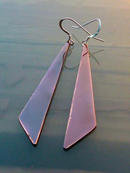 triangle copper earrings.1.