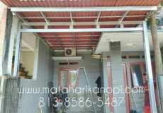 Hasil Pemasangan Kanopi Baja Ringan Atap Go Green Merah Type Standar di Kebagusan 3, Ragunan, Jakarta Timur