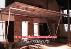 Hasil Pemasangan Kanopi Baja Ringan Atap Evo Gold di Perum Shafa Town House, Cikaret, Ciomas, Bogor