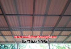 Hasil Pemasangan Kanopi Baja Ringan Atap Alderon RS, di Perum Shafa Town House, Jl. Raden Kosasih, Cikaret, Ciomas, Bogor