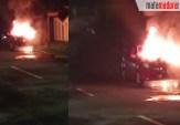 Mobil Ayla Terbakar di Jalan Raya Telang Bangkalan