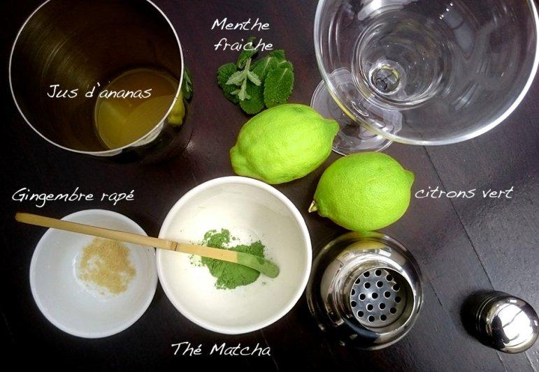 Tous les ingrédients pour un cocktail détox au matcha
