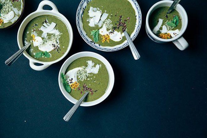 Matcha mint chip greens breakfast bowl