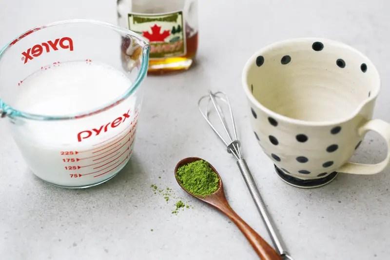 Matcha green tea latte with almond milk recipe