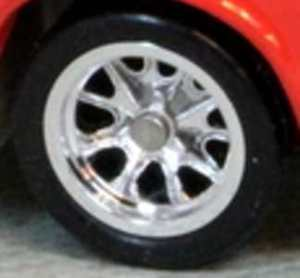 Matchbox Wheels : 10 Spoke Sports Rubber - Chrome