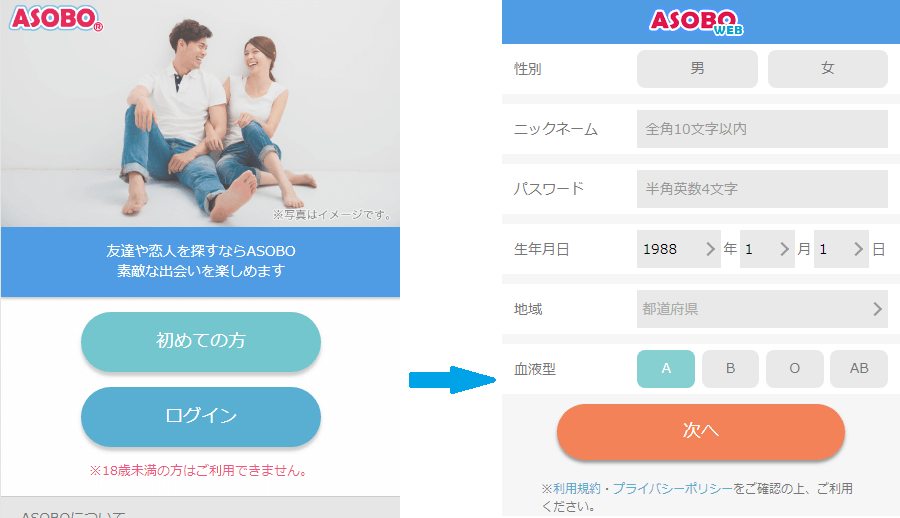 ASOBO初回登録の基本情報を入力する画面