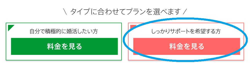 ツヴァイ公式HP内のふたつのプランを選択する画像