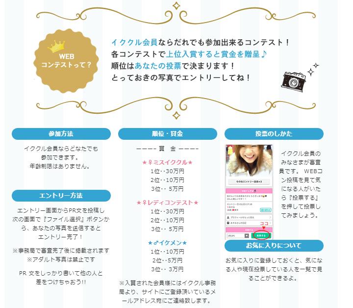 イククル公式ページで紹介されているWebコンテストの参加方法や入賞商品など