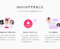 aocca公式サイトのaoccaでできること紹介画面