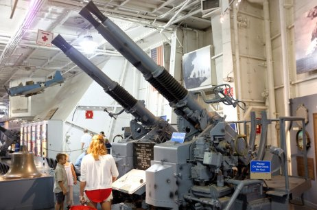 Anti-aircraft guns in hanger