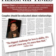 Helsinki Times Newspaper in Finland Interviews Relationship Expert Hellen Chen