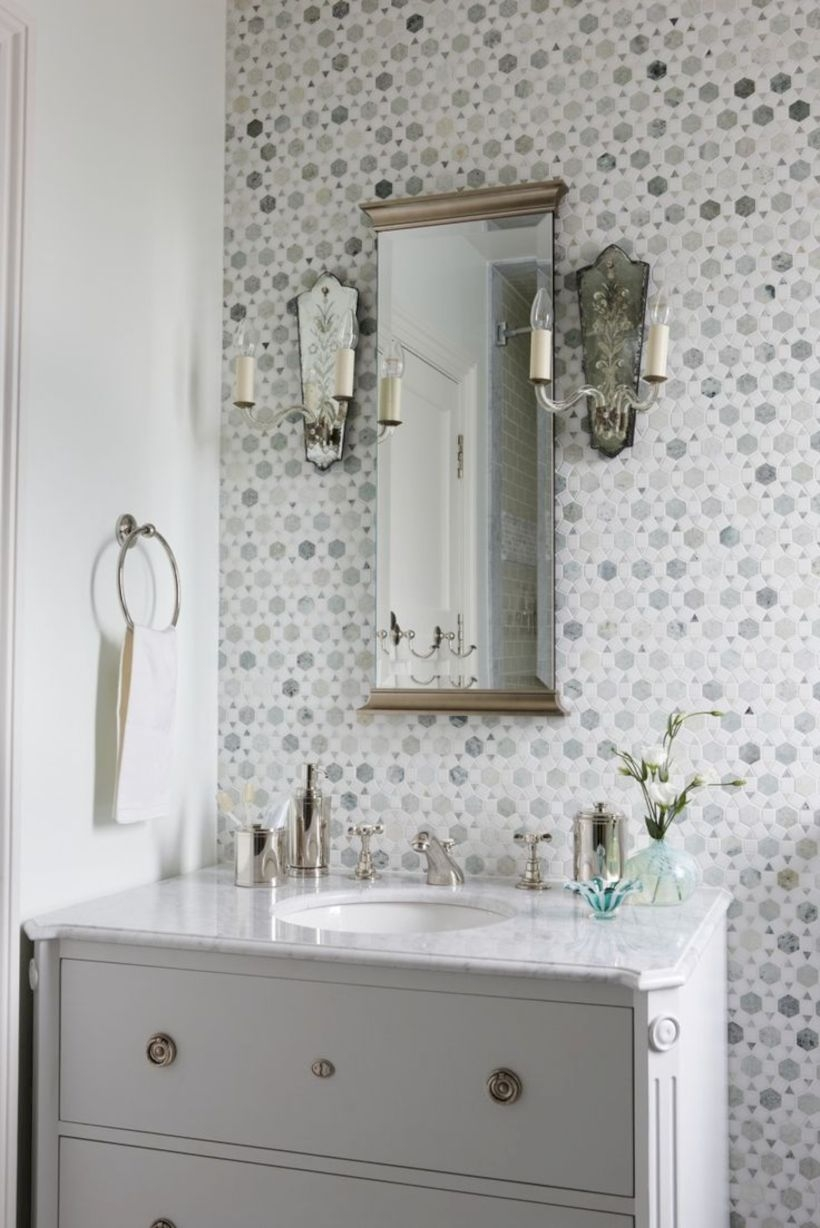 Adorable mosaic marble shower tile for your bathroom 36