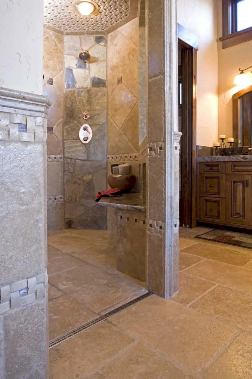 Amazing doorless shower design ideas 22