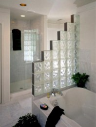 Amazing glass brick shower division design ideas 05