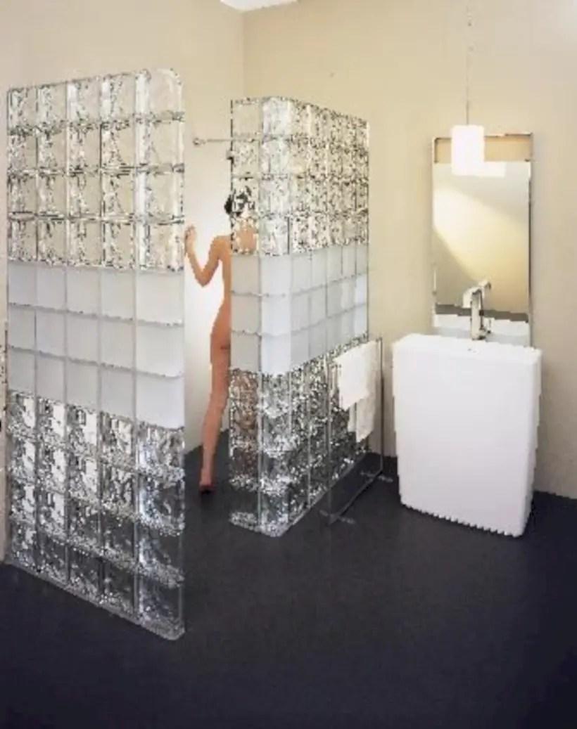 Amazing glass brick shower division design ideas 06