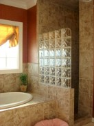 Amazing glass brick shower division design ideas 10