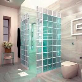 Amazing glass brick shower division design ideas 14