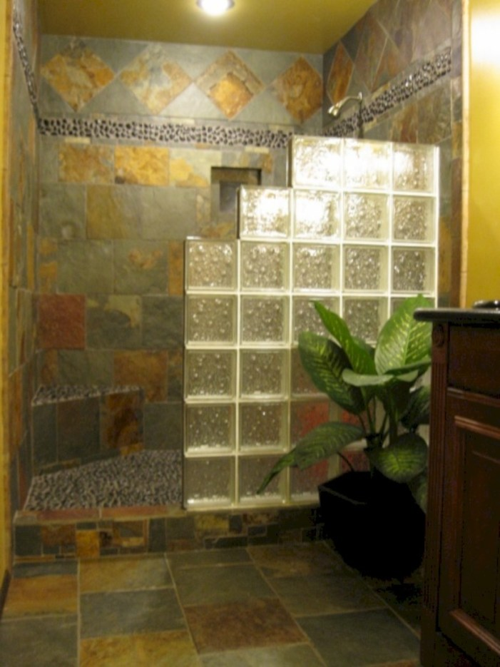Amazing glass brick shower division design ideas 18